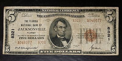 1929 $5 The Florida National Bank of Jacksonville National Currency Note 8321