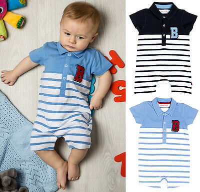 Baby Boys Blue or Navy Striped Short Romper (0-12 Months)
