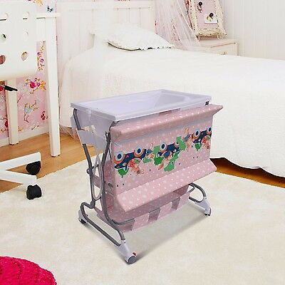 Baby Infant Rolling Changing Table Unit Storage Station Pad Tray w/Bath Tub Pink