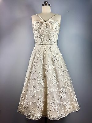 Vintage 1950s White Pearl Lace Sequin Pailette Wedding Cotillion Dress 36.5 bust