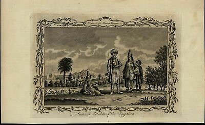 Egyptian Summer Habits Fashion nice ca. 1780's fascinating old engraved print