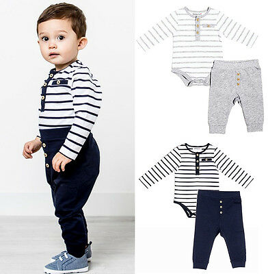 Baby Boys Navy or Grey Striped Bodysuit & Leggings Outfit (0-24 Months)
