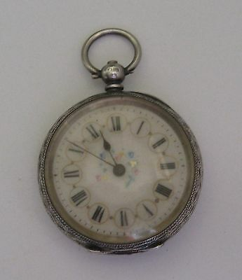 Antique Sterling Silver Pocket Watch Working With Key