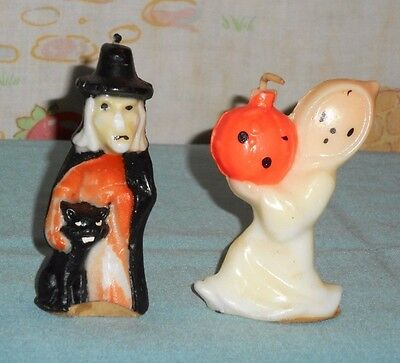 vintage Halloween GURLEY CANDLE LOT OF 2 witch with cat & ghost carrying pumpkin
