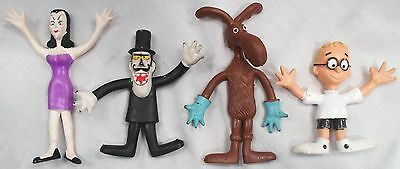 4 Rocky & Bullwinkle Rubber Figurines Wham O.  By JAY WARD Productions 1972