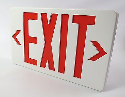 TCP Commercial Grade White / Red LED Exit Sign with Battery Backup REAL AUCTION