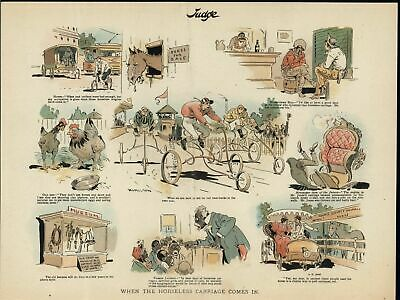 Rise of the Automobile Changing Future c.1890's Bicycle old Judge color print
