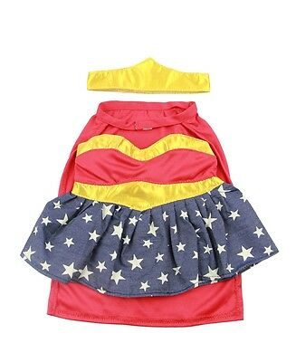 "Super girl bear costume outfit teddy bear clothes fits 15"" Build a Bear"