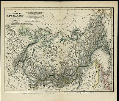 Asiatic Russia Ural Mountains Hokkaido 1855 old detail engraved hand color map