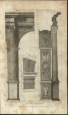 Composite Order Classical Architecture Angel Aulos 1788 antique engraved print