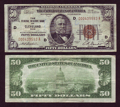 1929 Cleveland 50$ National Currency Federal Reserve Note Fr-1880D (P803)
