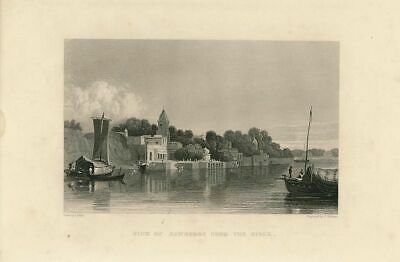 Ganges river view of Kanpur India 1858 old vintage print