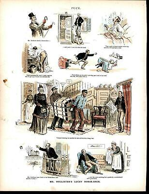 Unlucky Horse Shoe Catastrophe Mother in Law 1891 antique color lithograph print