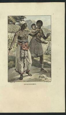 Loangers Mother and Child 1806 rare antique engraved hand color print