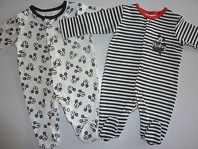 Disney MICKEY MOUSE 2 Cute Little Sleepsuits NEW