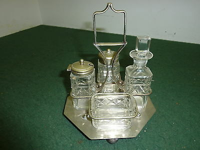 Vintage Glass Cruet Set on Silver Plated 17cm Stand