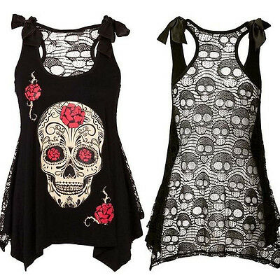 Women Skull Print Loose Lace Vest Patchwork Casual Sleeveless Tops Blouse