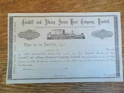 Old 1880s stock certificate - Catskill and Albany Steamboat Co., Hudson, NY