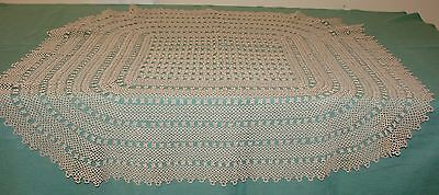 """Antique Handmade Tatted Lace Luncheon Tablecloth - Light Taupe 32"""", Square - H16"""