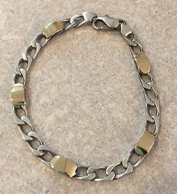 "Tiffany & Co. Curb Link Vintage 18K Gold Sterling Silver 7"" Chain Bracelet Italy"