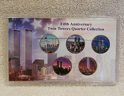 Colorized  Twin Towers Quarter Collection - 9/11 Anniversary - New York Quarters