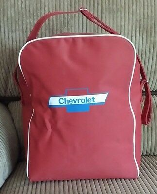 Vintage CHEVROLET 1950's-60's WORLD AIRWAYS Carry-On TRAVEL BAG Suitcase Red