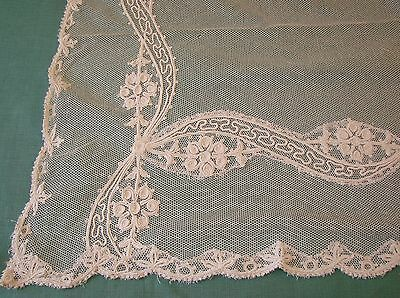 Antique Embroidered Net Lace Table Cover, Bed Cover