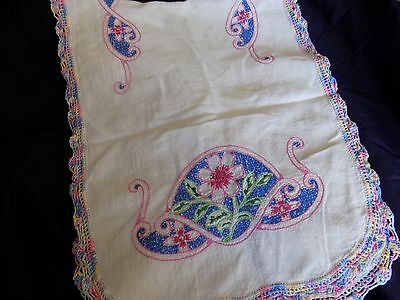 Vintage Crocheted And Hand Embroidered Linen Dresser Scarf Table Runner