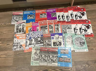 HEREFORD UNITED PROGRAMMES X28 Hford v ARSENAL FA CUP 1985,bundle,job Lot