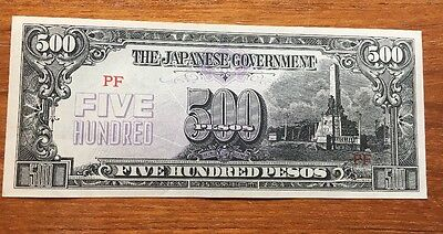 500 PESOS 1944 The Japanese Government Vintage CURRENCY MONEY BILL NOTE JAPAN