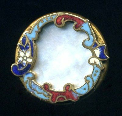 Antique Button...Lovely Mother of Pearl with Enamel Rococo Border