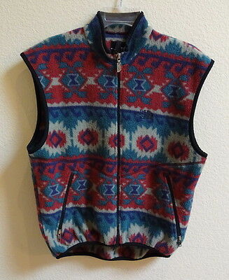 The North Face Fleece Vest Southwest Print Women Small Vintage 1 Pocket Zip Bad