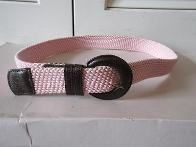 Womens Lai Pink Canvas Brown Leather Belt W/brown Leather Hardware Size M