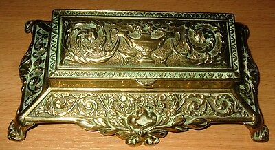 French Antique Rococo Style Solid Brass Desk Stamp or Pill Box