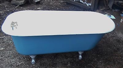 5' Antique, CLAWFOOT, Rolled Rim, 1935, PORCELAIN/CAST IRON BATHTUB WITH SINK