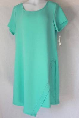 NEW Womens Dress Plus Size 3X Solid Pastel Green Casual Textured Short Sleeve
