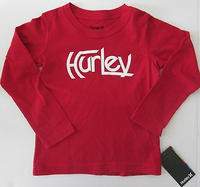 HURLEY Toddler Boys Girls Gym Red L/S Top Shirt 4 4T NEW NWT Twins