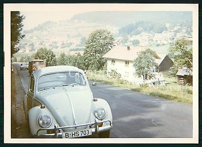 Foto Oldtimer VW Käfer in blau VW BULLI Bus CAR Beetle COLOR Photo