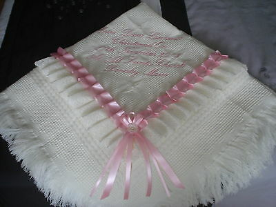 beautiful white/pink baby girls shawl **NEW**  PERSONALISED