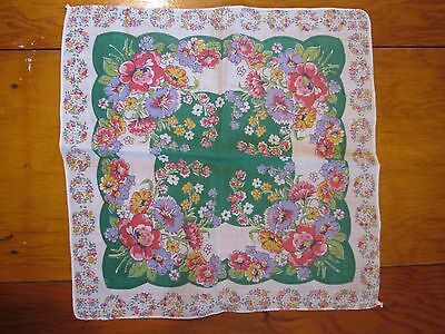 Floral with lots green used vintage  Handkerchief Hanky