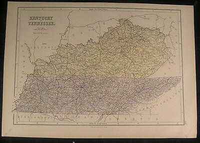 Kentucky Tennessee Ohio River Railroad Network 1879 old vintage color map