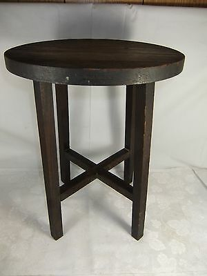"""Antique Vintage Small Round Wood Table Stool 4 Legs 15"""" High"""