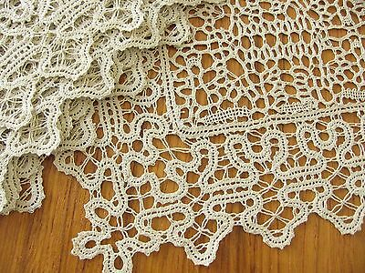 EXQUISITE Antique c1900 Italian Handmade Bobbin Lace 8 PLACEMATS & RUNNER Unused