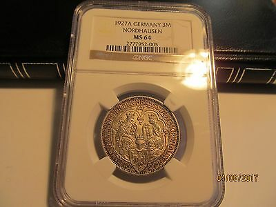 1927 A Nordhausen 3 Mark, NGC MS-64 Certified and Graded, Nice Attractive Coin