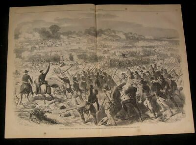 Confederate Army Repulsed by Union Artillery 1862 antique wood engraved print