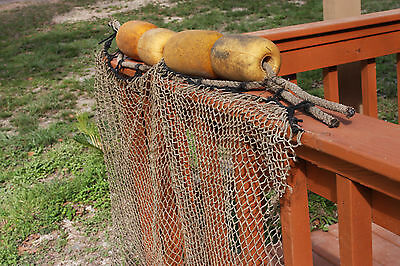 (3)pcs, Seafood Oceanside Restaurant Decor, Used Fishing Net Rope Float Assembly