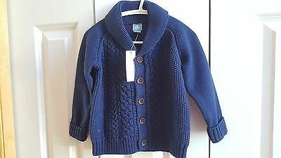 Baby Gap Boy Blue Cable Knit Front Button Cardigan Sweater 18 24 Mo Nwt $33