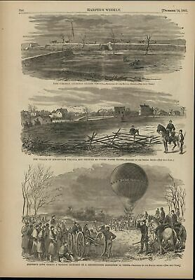 Fort Cocoran VA Early Balloon Expedition 1861 antique Harpers Civil War print