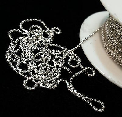 Solid 925 Sterling Silver Diamond Cut Ball Chain 1.5mm By the Foot Bulk USA