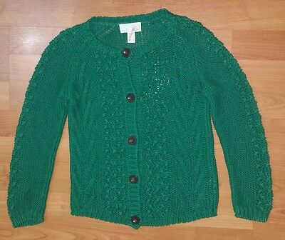 PEEK Fleur Girls Green Knit Button Down Cardigan - Size Small 4-5